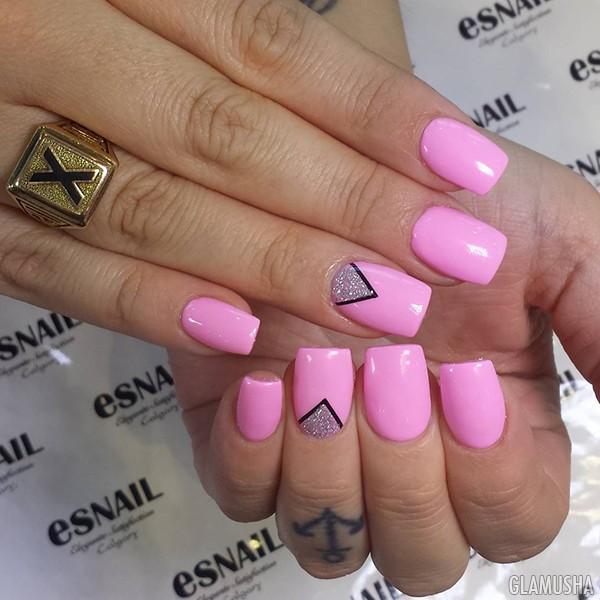 дизайн ногтей серый с розовым фото