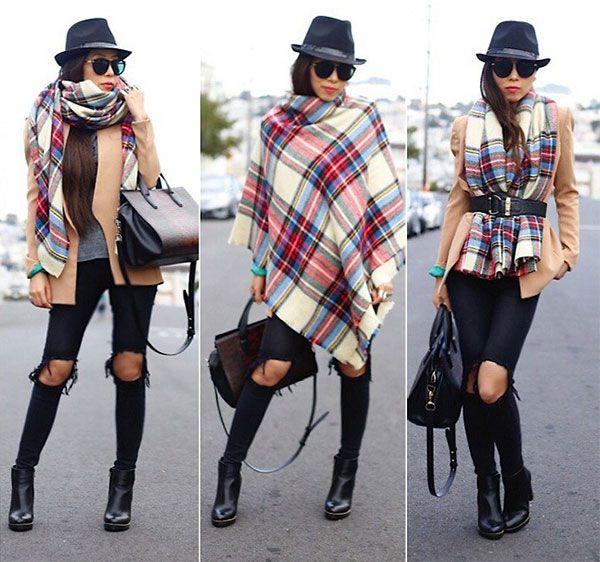 5 простых способов носить шарф-плед