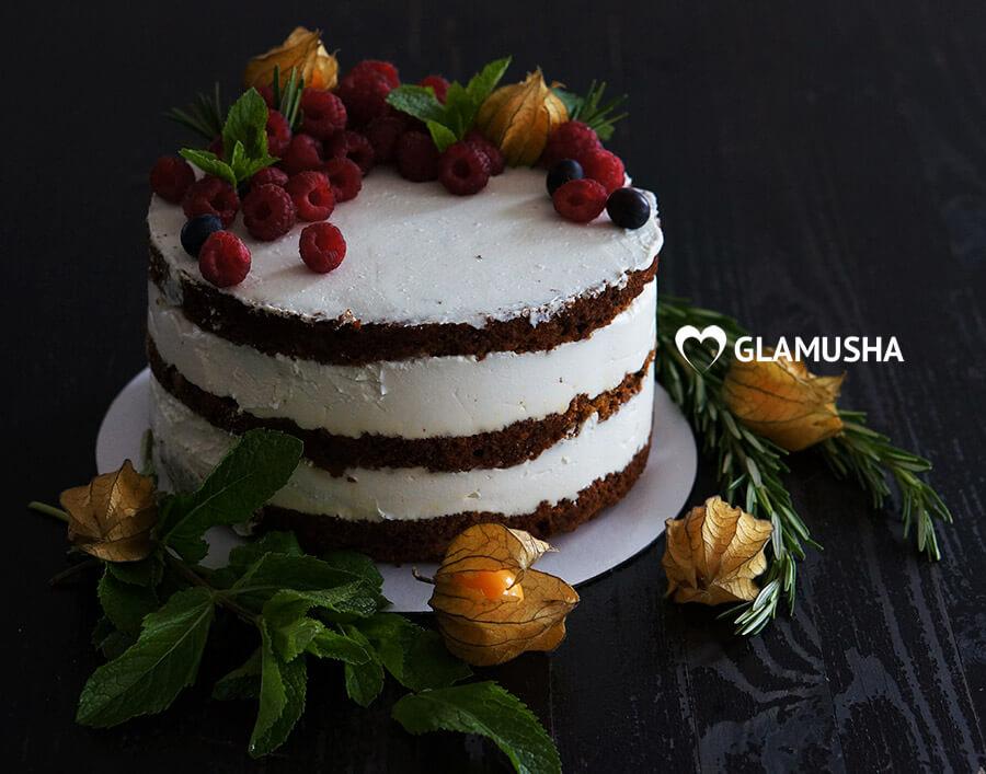 ПП морковный торт с творожным кремом, 130 ккал