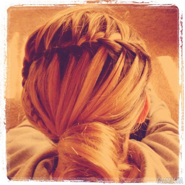 плетение косы водопад