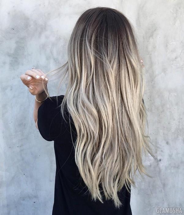 балаяж пепельным цветом на темные волосы