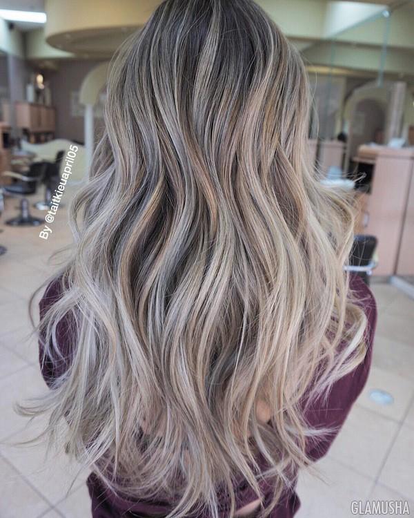пепельный цвет волос с мелированием фото