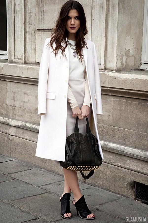 белое пальто с чем носить фото