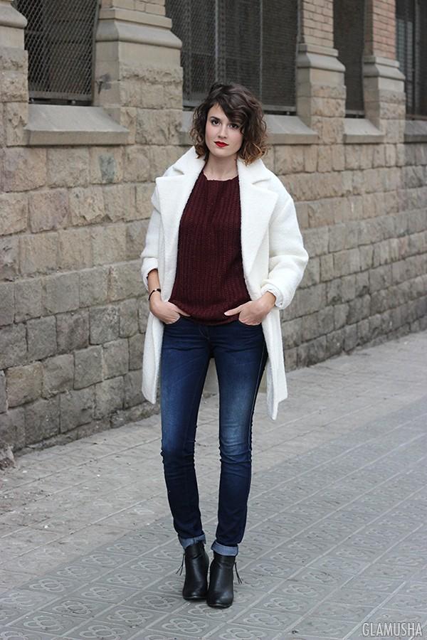 пальто белое на осень