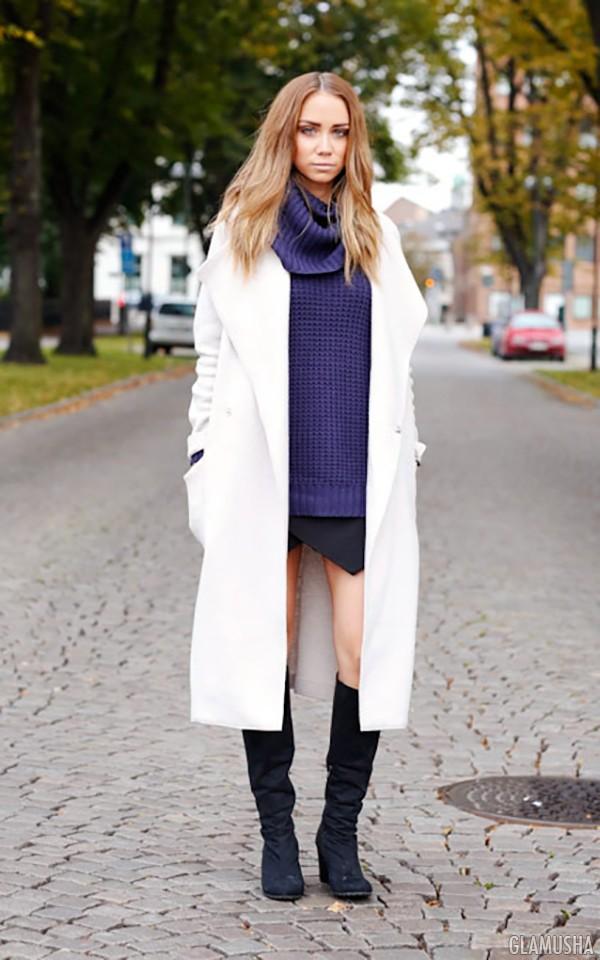 белое осеннее пальто