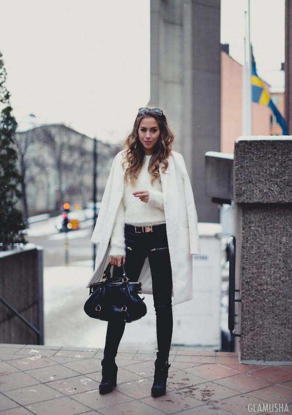 модный образ с белым пальто