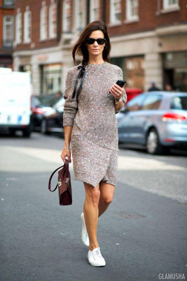 вязаное платье мода