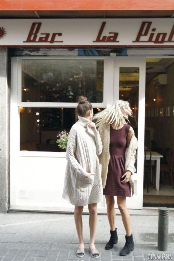 свитер-платье и вязаное платье
