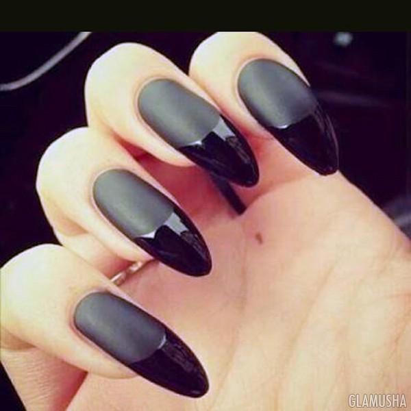 матовые с глянцевым черные ногти