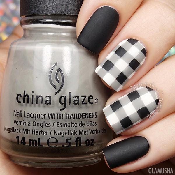 матовый черно-белый дизайн ногтей фото