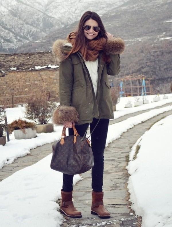 что носить с паркой зимой фото