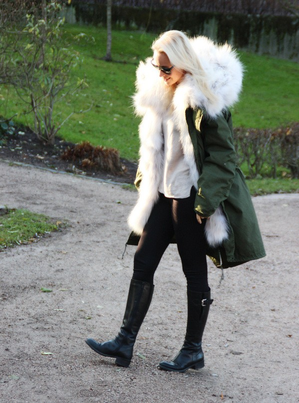что носить с паркой с мехом