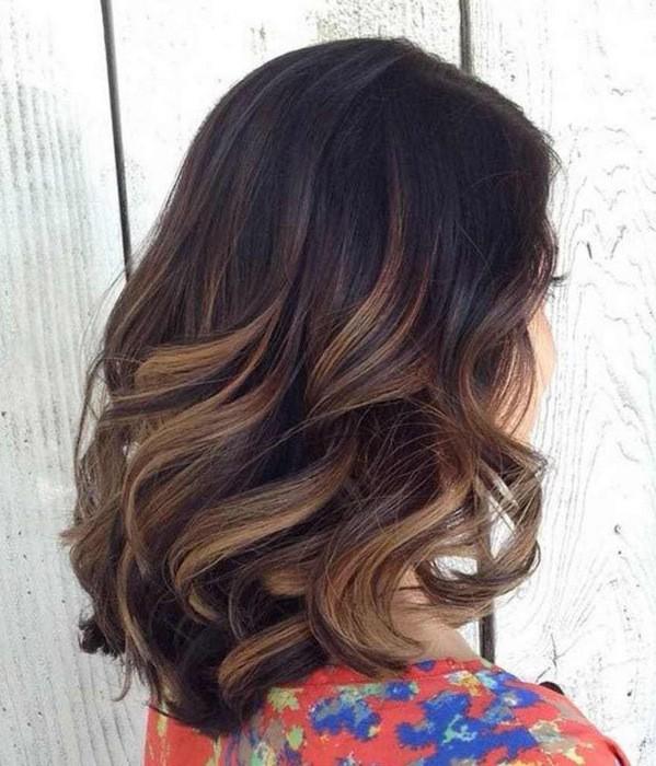 калифорнийское мелирование на черные длинные волосы