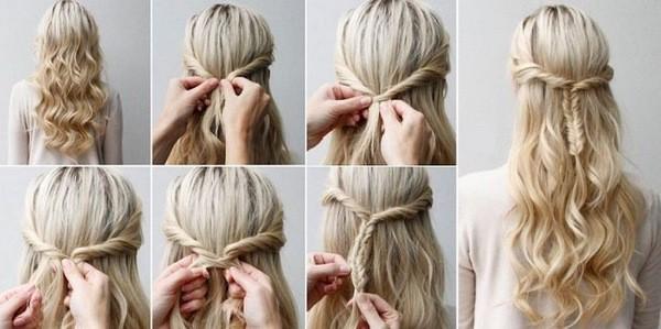 косы на средние волосы на каждый день