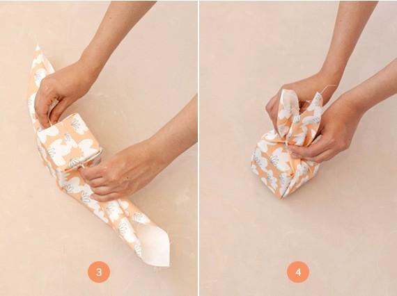 как обернуть подарок тканью пошаговая инструкция - шаг 2