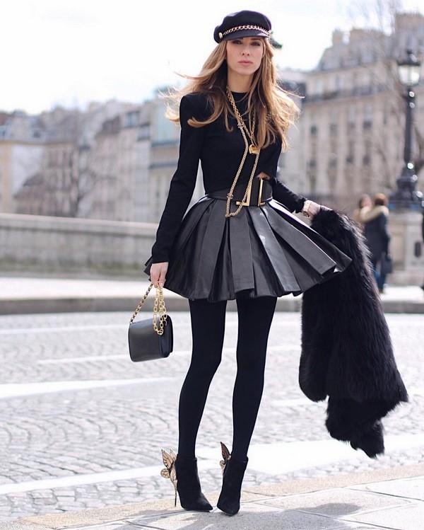 кожаная юбка с чем носить зимой