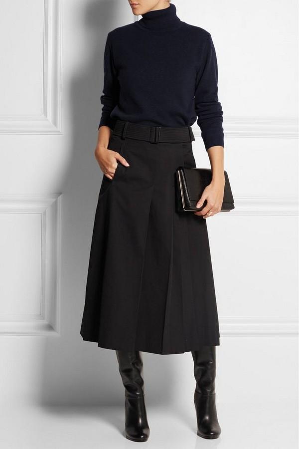 с чем носить юбку миди зимой