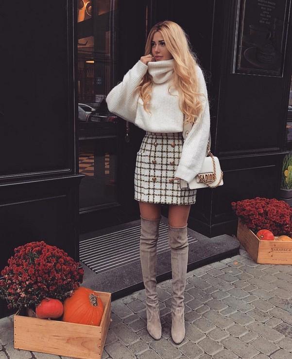 с чем носить юбку зимой фото