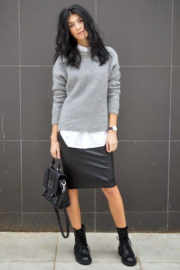 кожаная юбка с чем носить зимой фото