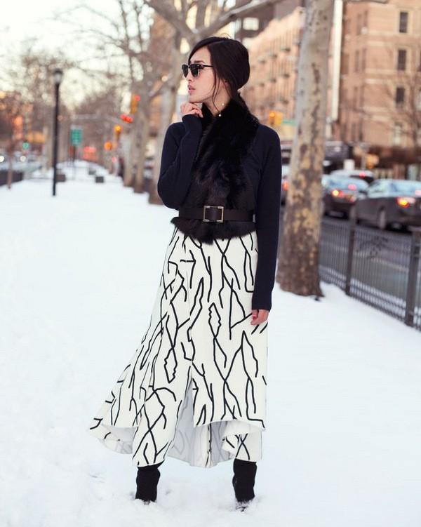 с чем носить юбку макси зимой