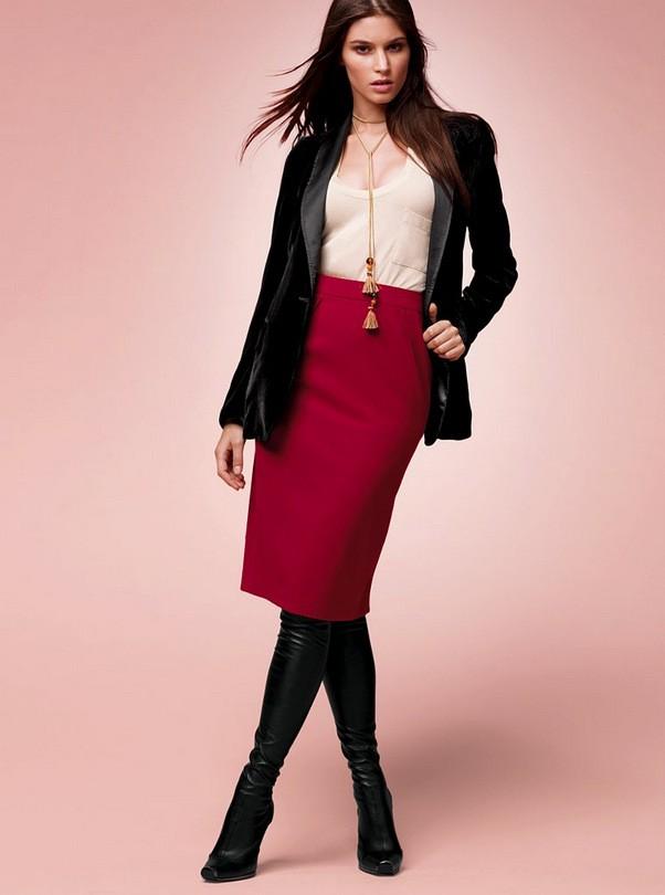 юбка ниже колена с чем носить зимой