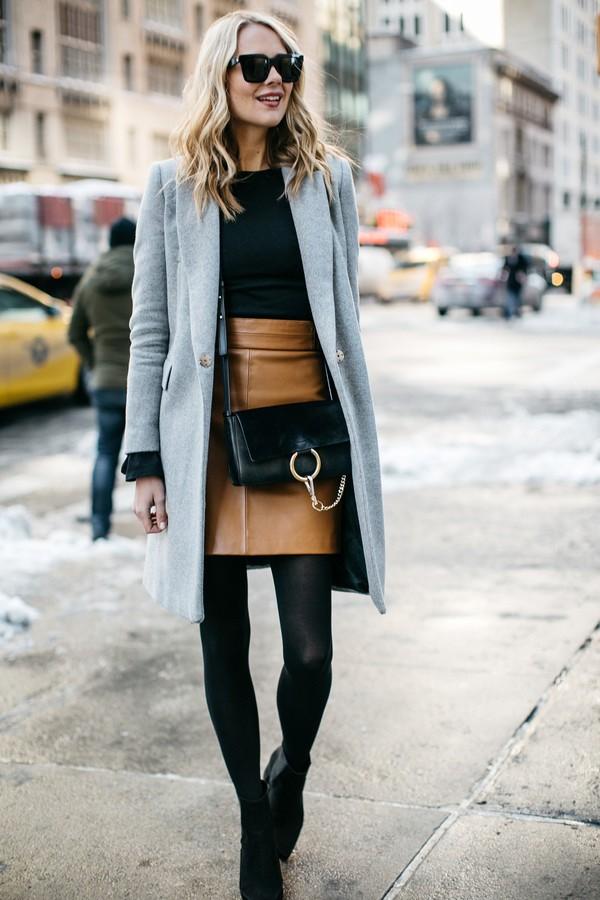 с чем носить кожаную юбку зимой фото