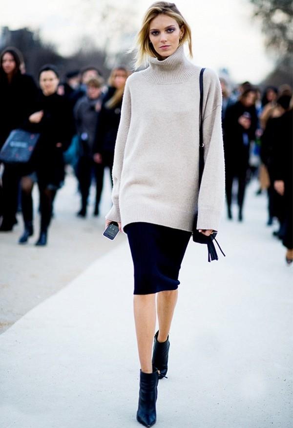с чем носить вязаную юбку зимой