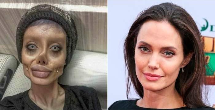Девушка с пластическими операциями чтобы выглядеть как Джоли