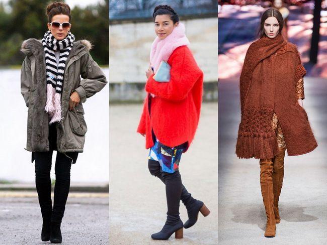 Как носить шарф с курткой или шубой