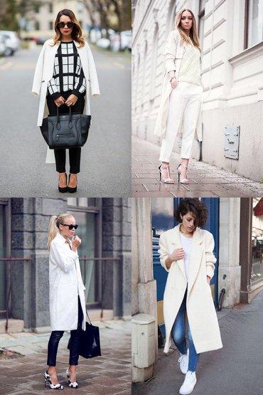 С чем носить белое пальто? 30 фото модных образов